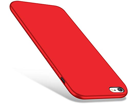 iPhone 6 / 6s Case, CellEver Liquid Silicone Guard Rubber Shock Absorbing Cover with Soft Microfiber Cloth Cushion for Apple iPhone 6 / 6S (Red)