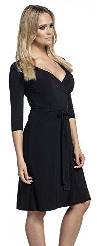 Glamour Empire. Mujer Vestido Skater Parte Delantera Cruzada Cintura Lazo. 169 Negro