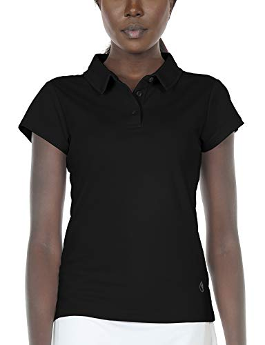 (icyzone Women's Athletic Golf Polo Shirts Stretch Pique Short Sleeve Tops (S, Black))