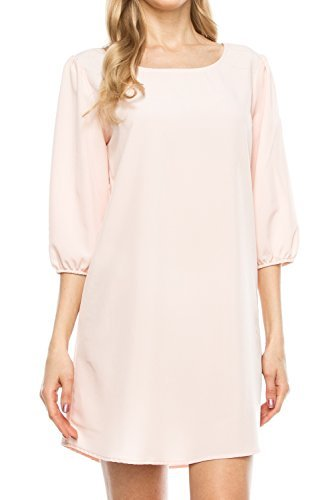 KLKD A097 Women's Solid 3/4 Sleeve Boatneck Bishop Shift Dress Made in U.S.A. Blush Medium