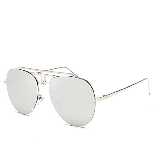 JUNHONGZHANG plata Gafas De Colores De Sapos Gafas Marco Gafas Gran Sol Huecas Sol De Sol De para De Plateadas Damas De Metal q1qrxg4