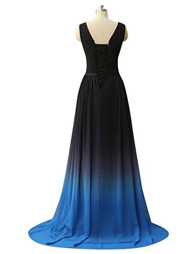 Promenade D'onore Di Colore Sfumatura Perline Blu Damigella Farfalla Abito Ballo Vestito Da Av Collo Di Sera Chiffon Di Del Paradiso Da Della 8qqFApY