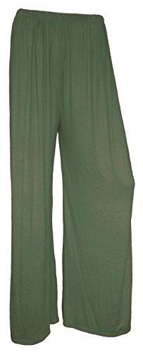 F4U - Pantalones estampados para mujer, pierna ancha, diseño floral, tallas grandes caqui