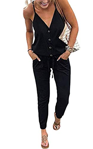 ECOWISH Women's V Neck Spaghetti Strap Drawstring Waisted Long Pants Jumpsuit Rompers 870 Black S