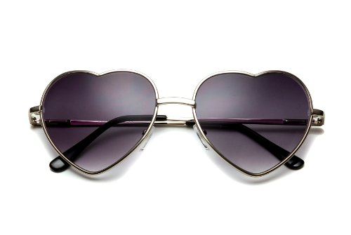 80's Collection Thin Modern Metal Heart Sunglasses Silver / Smoke Modern Collection