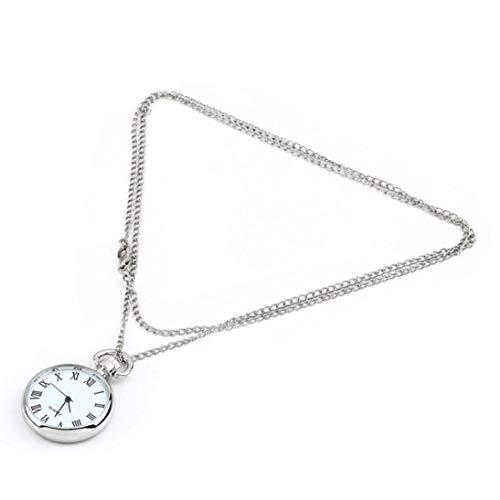 (Baynne Fashion Quartz Round Pocket Watch Dial Vintage Necklace Silver Chain Pendant Antique Style Stylish Pretty Gift )