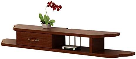 Xyanzi-DVDラック フローティングフレームテレビコンソール壁掛けTVキャビネットシングル引き出しDVDホルダー無垢材、120 * 23 * 18cm 機能的な収納棚 (色 : Brown red)