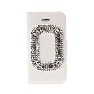 TY-Funda de cuero anillo del diamante del estilo incrustada para el iPhone 4/4S