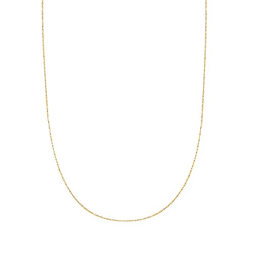 14K Solid Yellow Gold Lite Pendant Rope Chain Necklace 18 Inches