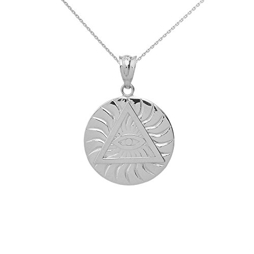 Sterling Silver Triangle Eye of Providence Illuminati All Seeing Eye Round Necklace, 16