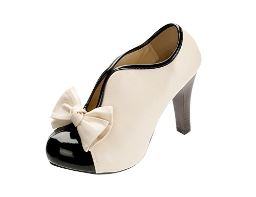 Women High Heel Shoes Fashion Vintage Party Prom Dress Pumps Ankle Boots with (Ankle Bow)