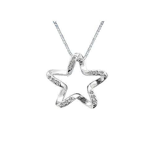 925 plating Silver Open Twisted Star Pendant Necklace, 18