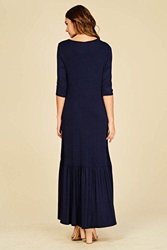 Low Round 3 Neck Navy Hi Pockets with Hem Ruffle Annabelle 4 Women's Dresses Sleeves Maxi t8wpqS5
