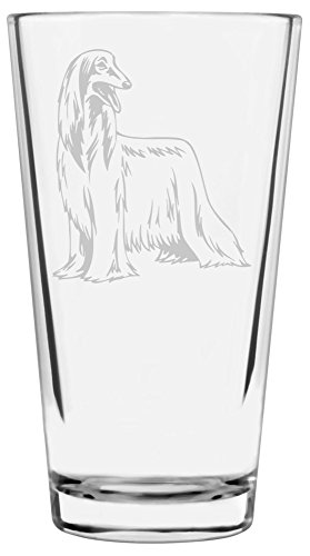 Afghan Hound Dog Themed Etched All Purpose 16oz Libbey Pint Glass