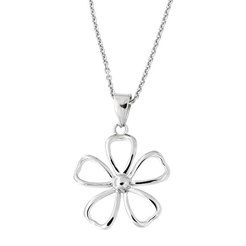 - Beauniq Solid Sterling Silver Rhodium Plated Flower Pendant Necklace, 18