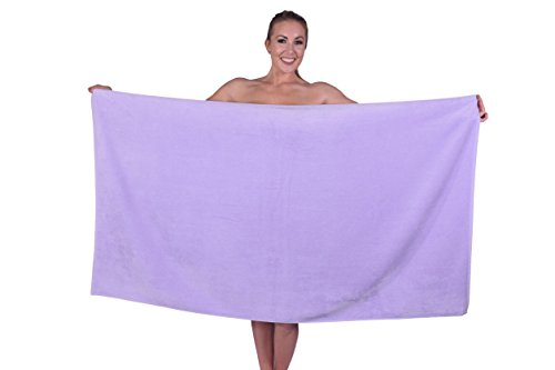 Puffy Cotton Hotel & Spa Luxury Plush Velour Large Beach Towel Bath Sheet, Super Soft and Absorbent - Lavender - Set of 1 ()