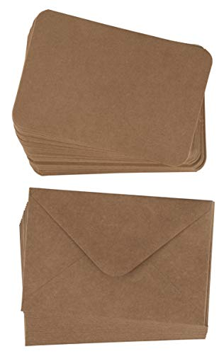 48-Pack Blank Greeting Cards - Plain Cardstock Folded Notecards - Rounded Corners, Envelopes Included for DIY Holiday Cards, Business, Party Invitation, Birthday, Wedding, Kraft Brown, 4 x 6 Inches