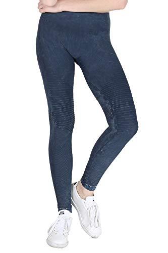 Nikibiki Womens Seamless Vintage Moto Leggings One Size Vintage Denim Blue ()