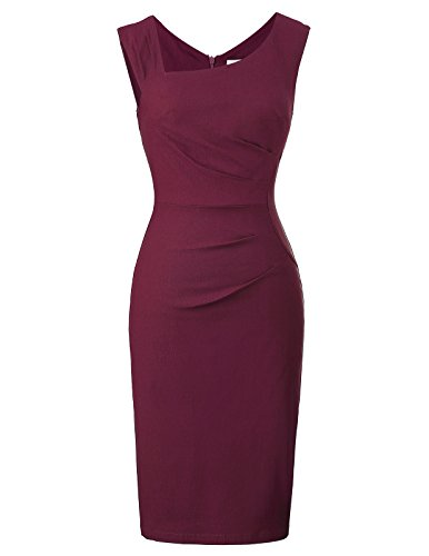 Belle Poque Women Sexy Sleeveless Slim Business Pencil Dress Size M Wine Red BP302-3 from Belle Poque