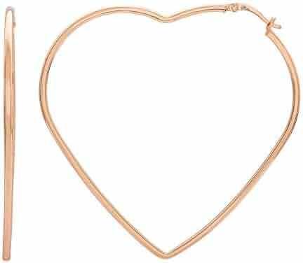 2c11fe12e Ellen Tracy Jewelry Sterling Silver Pink Gold Plated Large Heart Shaped  Geometric Hoop Earrings