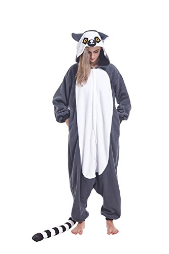 Ring Tailed Lemur Tail Costume (Ifboxs Halloween Neutral Adult Cartoon Costume Ring-tailed Lemur Cosplay Costume)