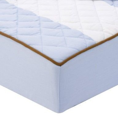 Bacati - Metro Blue/White/Chocolate Quilted Changing Pad Cover