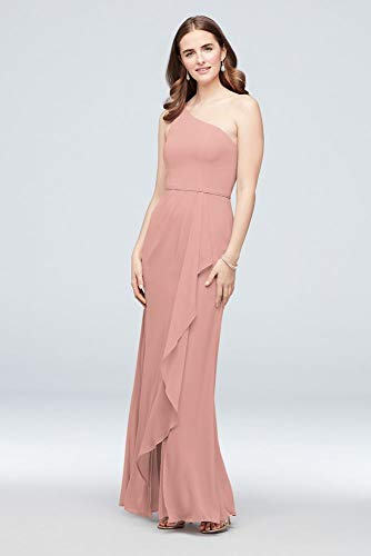 One-Shoulder Chiffon Bridesmaid Dress with Cascade Style F20011, Ballet, 18