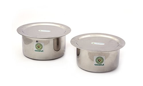 Coconut Tope  amp; Lid Stainless Steel Cookware Set of 2 750 ML  amp; 1000 ML