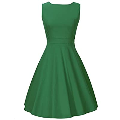 Costyleen BoatNeck Sleeveless Vintage Casual Cocktail Tea Dress with Belt