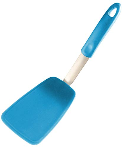 StarPack Ultra Flexible Large Silicone Turner Spatula, Bonus 101 Cooking Tips (Teal Blue)