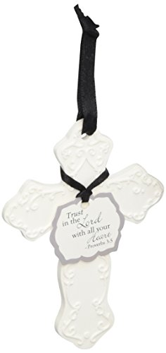 Blossom and Bliss Scented Clay Cross Ornament with Trust in The Lord Sentiment, 4-1/4-Inch, Water Lily Scent