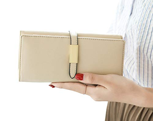 - RFID Blocking Women Wallet Long Trifold Clutch Checkbook Phone Credit Card Holder (Beige)