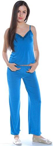 Women's Slinky Knit and Lace Camisole Pajama Set #2095 (L, - Slinky Pant Set Knit