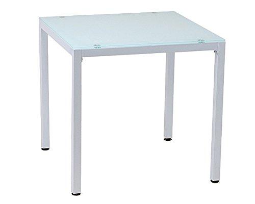 10mm厚 強化ガラス ダイニングテーブル 75X75cm ホワイト (白) 2人用 PA-7575-WH B00600795I ホワイト ホワイト