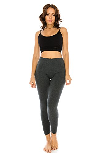 Solid Stretch Cotton (The Classic Women's Stretch Jersey Sports Yoga Full Length Leggings Pants Plus In Charcoal Grey - Large)