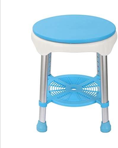 Dusch Badestühle Duschhocker Badstuhl Duschsitz Höhenverstellbarer Badstuhl Runder Rutschfester Duschstuhl Hilfsmittel für Bad (Color : Blue, Size : 34 * 34 * 42-52cm)