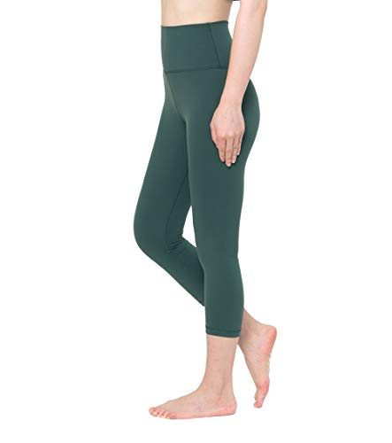 Fantasfit High Waist Yoga Leggings for Women w Band Pocket Squat Proof Workout Pants Tummy Control 4 Way Stretch (S, Capri - Basil)