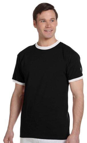 Champion 6.1 oz. Tagless Ringer T-Shirt - BLACK/WHITE - S