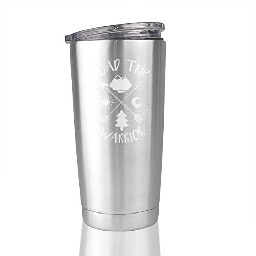 Road Trip Warrior 20 Oz Stainless Steel Vacuum Insulated Tumbler Travel Mug Novelty Gifts