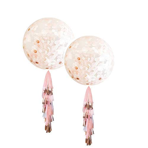 Fonder Mols 36inch Giant Blush and Rose Gold Confetti Jumbo Balloon Tassel Garland, Birthday Decorations Fringe, Wedding Balloons (Set of 2) -