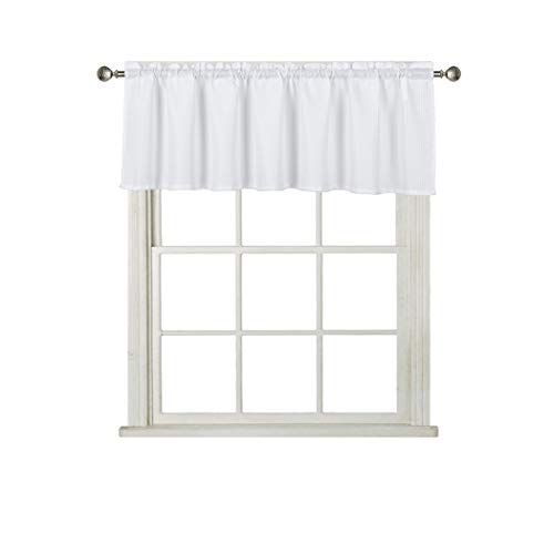 Home Queen Waffle Curtain Valance Window Treatment for Kitchen Bathroom Window, Straight Window Valance, Set of 1, 60 X 16 Inch, Solid White ()