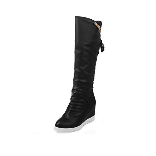 Balamasa Vrouwen Metalen Ornament Verhogen Binnenkant Platform Geïmiteerd Lederen Laarzen Zwart