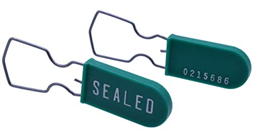 Plastic Wire Padlock Security Seals Sequentially Numbered Green (Pack of 100)