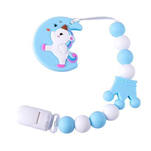 Baby Teething Toys BPA Free Silicone Teether Pain Relief Toy with Pacifier Clip Holder Set for Baby Girls Boys Infant Newborn Baby Shower Birthday Christmas (Blue)