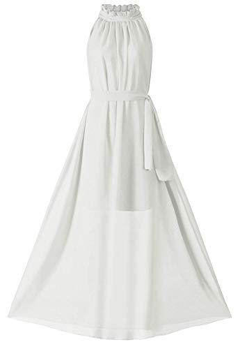 (VSVO Women Halter Neck Sleeveless Chiffon Maxi Dresses (Small,)