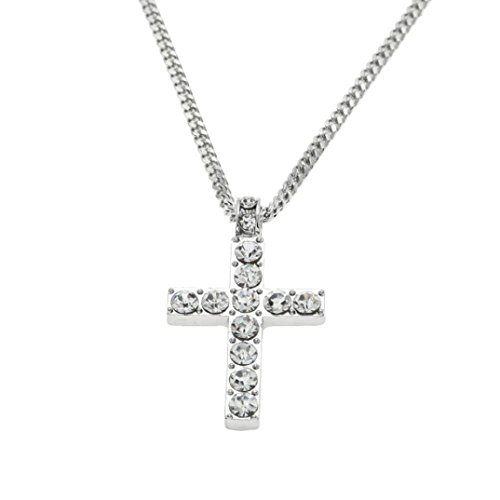 - Fashion Necklace, Hoshell Clearance Deals Hip Hop Men Women Jewelry Bling Rhinestone Crystal Cross Pendant Necklace (Silver)