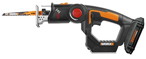 WORX WX550L 20V AXIS 2-in-1 Reciprocating Saw and Jigsaw with Orbital Mode, Variable Speed and Tool-Free Blade Change ()