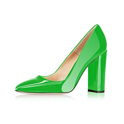Fericzot Pumps Women Sexy Patent Leather Pointed Toe Block Heels Pumps Gorgeous Evening Party Wedding Stiletto Shoes Plus Size Green 10M