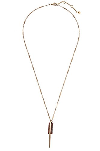 GlitZ Finery Detailed Chain Dangle Drop Gemstone Pendant Necklace (Rust)