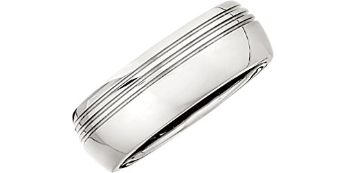 Titanium 8mm Comfort Fit Asymmetrical Triple Grooved Half Dome Ring, Size 10 by The Men's Jewelry Store